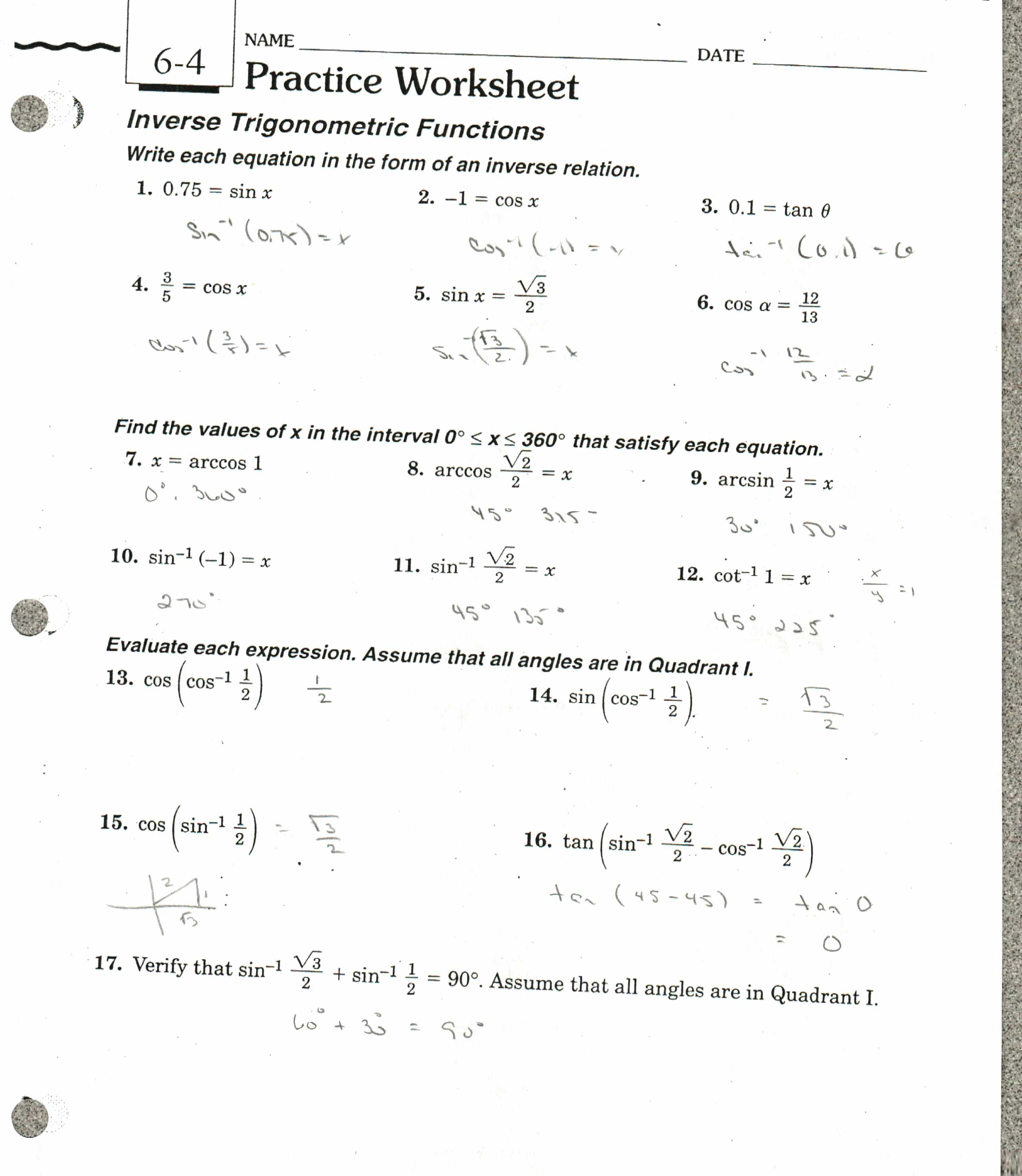 Answers Inverse Trig Functions (note most of these are restricted, in ...