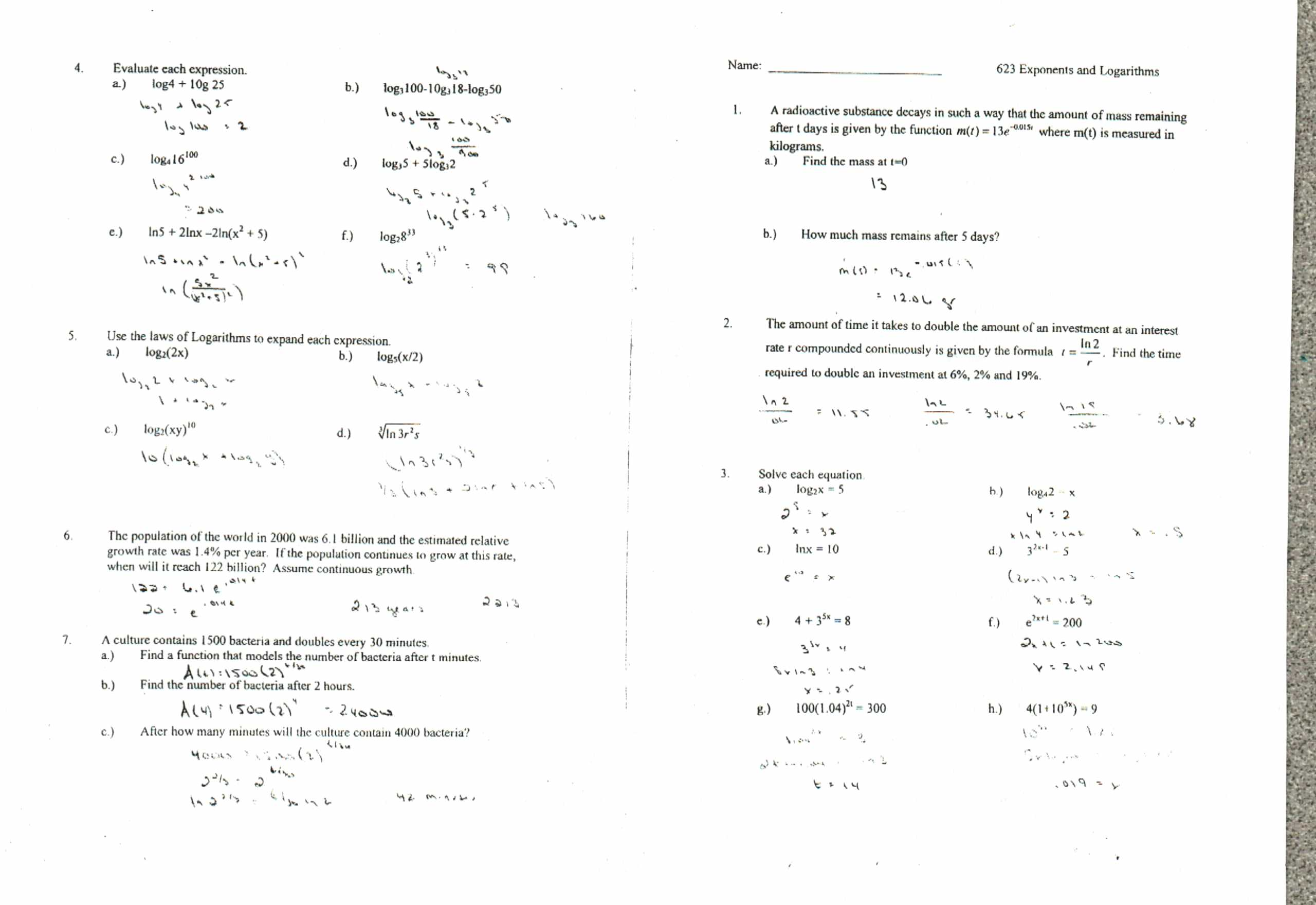 Properties Of Exponents Worksheet And Answers Delibertad – Properties of Exponents Worksheet