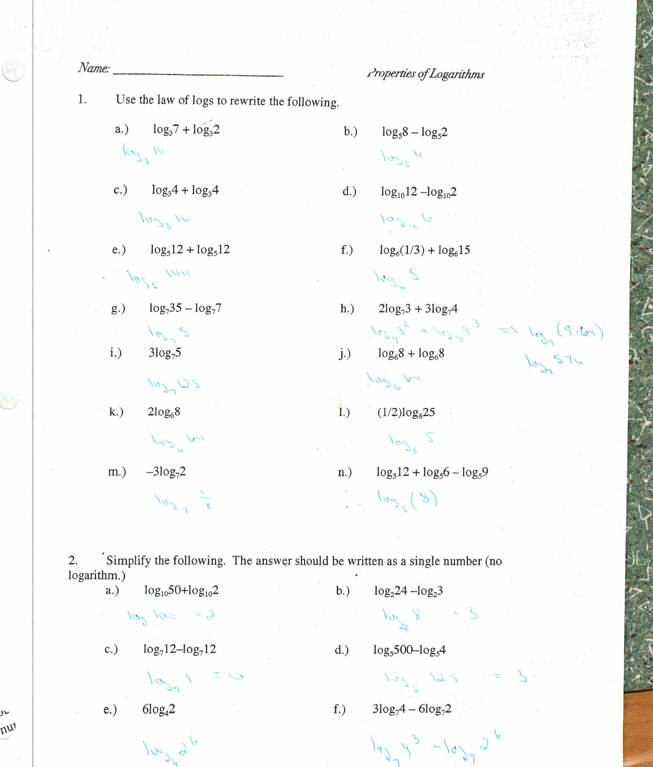 Worksheets Properties Of Logs Worksheet properties of logs worksheet sharebrowse free logarithm phinixi com worksheets for