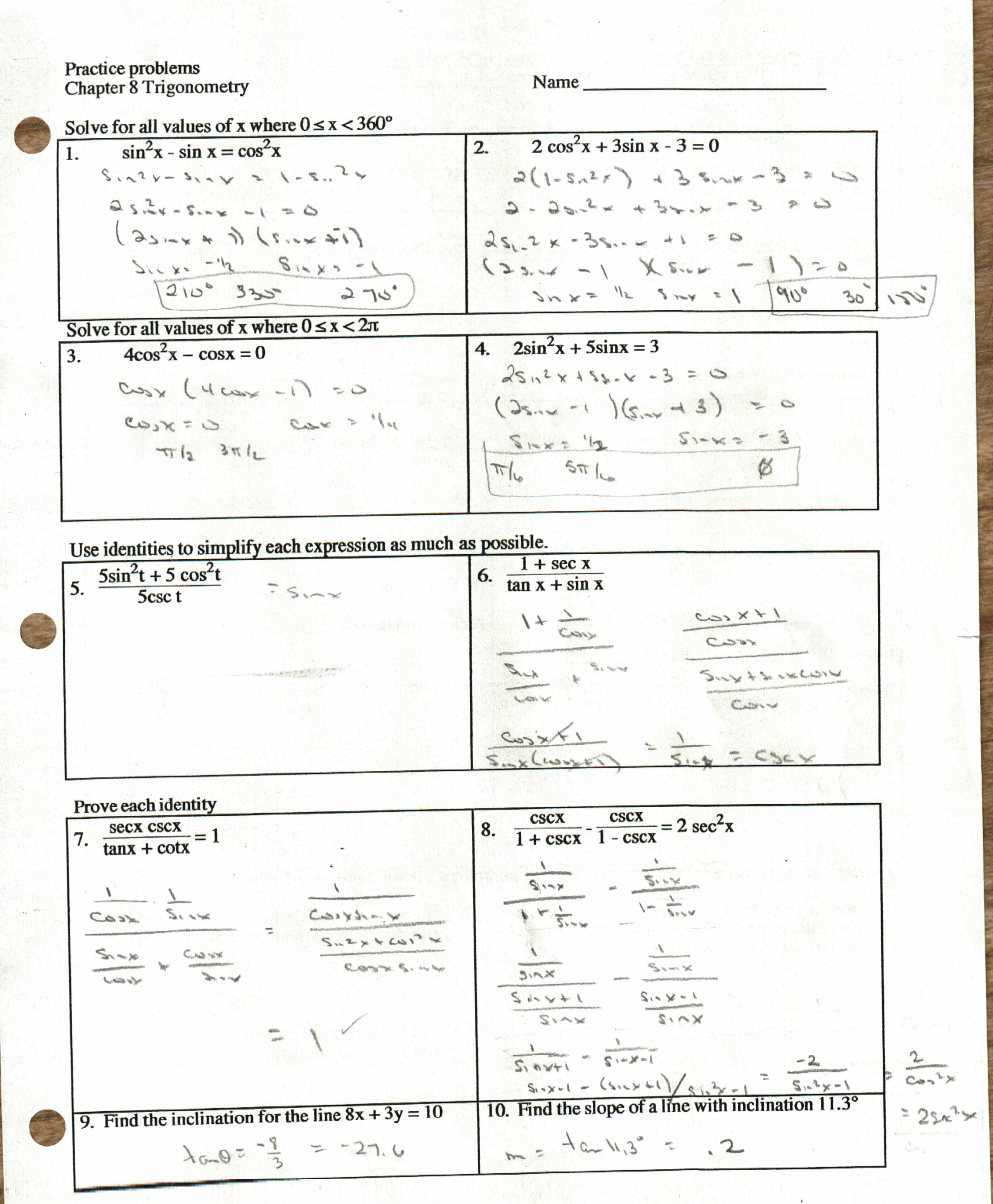 Answers Review Sheet p. 1 and p. 2 NOTE: #1, the answer to sinx=1 is ...