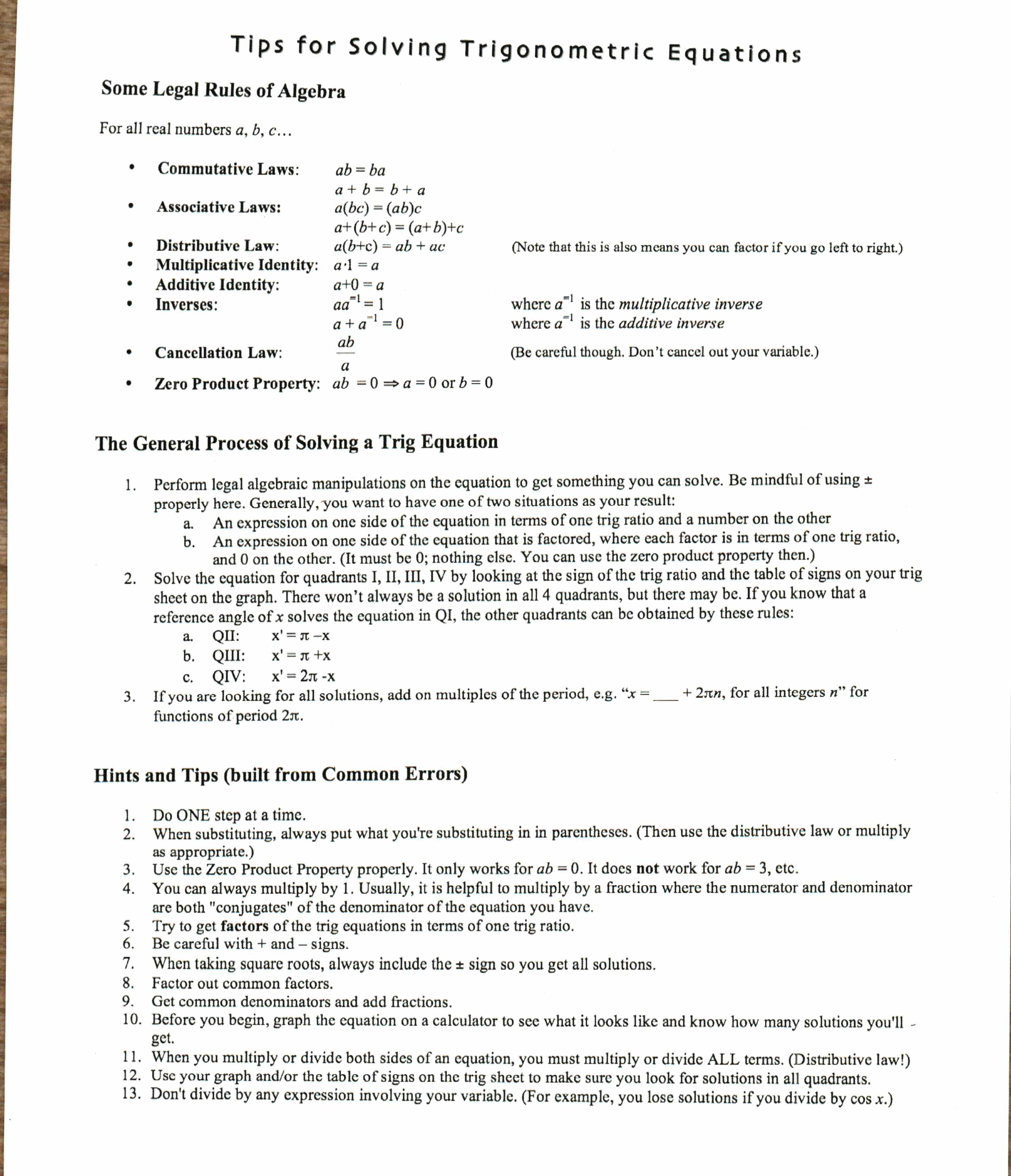 614 C block – Trig Equations Worksheet